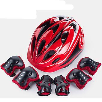 Children's Wrist Skating Skateboard Knee Pads Elbow Pads Outdoor Safety Bicycle Helmet Setblack Red