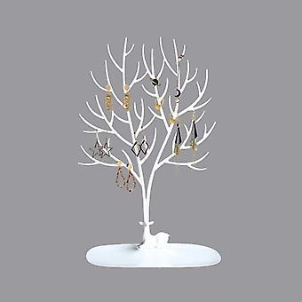 Waldgeweih Baum geformt Kreative Schmuck Box Ohrring Halter Halskette Armband Ohrring Aufbewahrungsbox Schmuck Halter-weiß