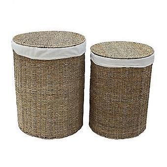 Set van 2 zeegras ronde papiermanden