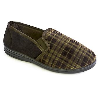 SlumberzzZ Mens Check Design Velour Lined Closed Slippers