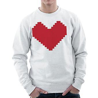 Pixel hjertet menns Sweatshirt