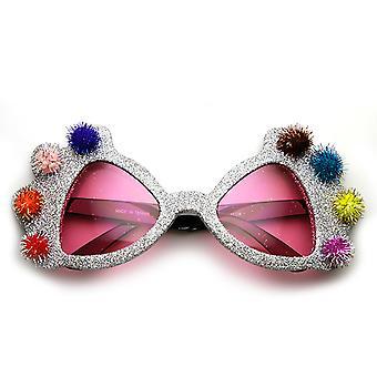 Prinzessin Krone Glitter Pom Pom Jeweled Neuheit Party Sonnenbrille