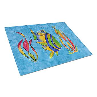 Troical Fish and Seaweed on Blue Glass Cutting Board Large