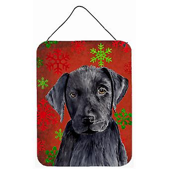 Labrador Red and Green Snowflakes Holiday Christmas Wall or Door Hanging Prints