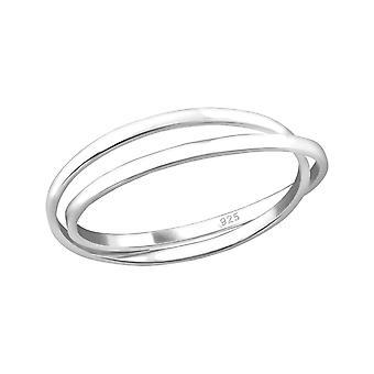 Gekruiste - 925 Sterling Zilver platte ringen - W32007X