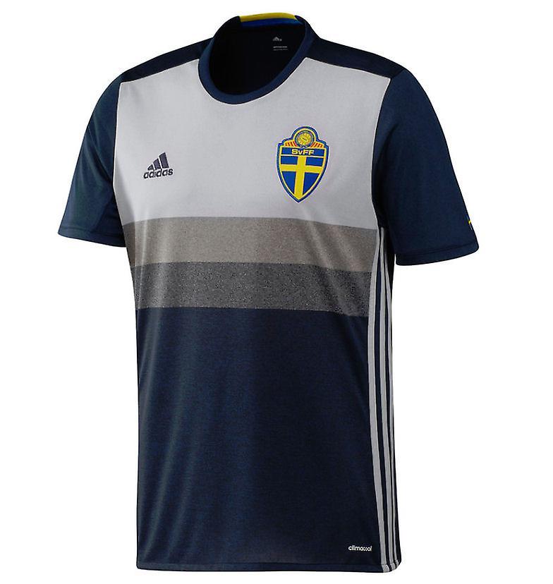Adidas 2016-2017 Sverige lager Adidas fodboldtrøje Flåde Small 36-38 inch Chest