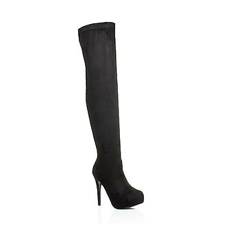 Ajvani womens high heel thigh zip stretch concealed platform over the knee boots
