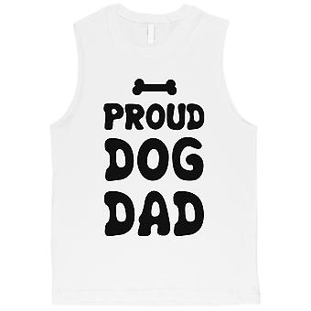 Cão orgulhoso pai Mens branco camisa de músculo