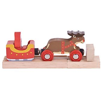 Bigjigs Rail Wooden Santa Sleigh with Reindeer Xmas Seasonal Christmas Train