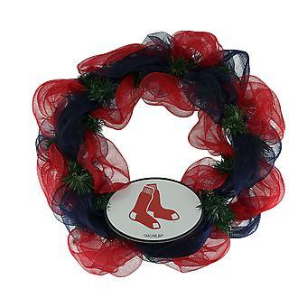 MLB Boston Red Sox Team Logo Mesh Front Door Wreath