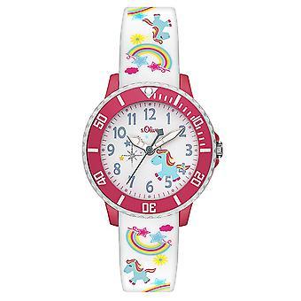 s. Oliver hodinky silikónová stuha hodinky deti SO-3435-PQ