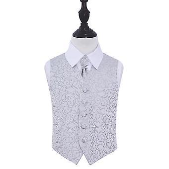 Sølv virvel bryllup vest & Cravat sett for gutter