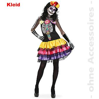 Skjelett drakt kvinnedagen døde Dia de los muertos Halloween kvinnenes kostyme