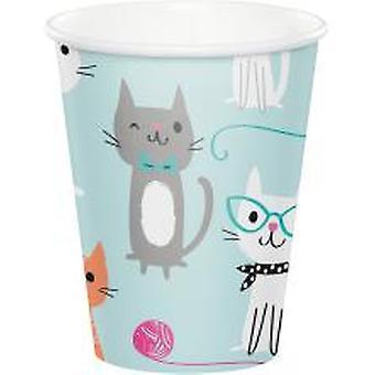 Katter dricker koppar 8 bit 256ml barn födelsedag tema party fest födelsedag