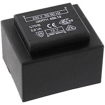 Gerth PTB421501 PCB mount transformer 1 x 230 V 1 x 15 V AC 5.60 VA 373 mA