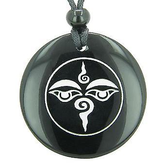 Tibetanske Buddha alle ser tredje visdom øje Amulet Onyx Magic Circle åndelige vedhæng halskæde