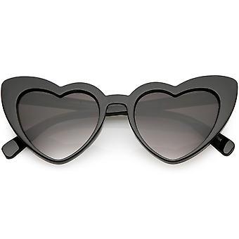 Damen Oversize Herz Sonnenbrille Gradient Objektiv 51mm