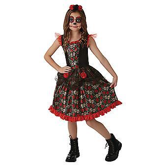 Rød Rose dag år døde Totenkopf kjole for barn 10-12