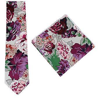 נייטסברידג ללבוש ברייט פרחוני כותנה עניבה וכיכר כיס סט-סגול/ורוד/ירוק