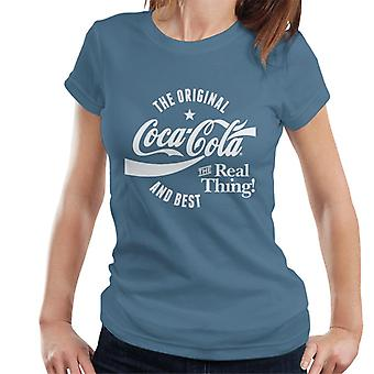 Official Coca Cola Original And Best White Text Women's T-Shirt