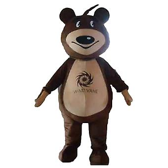mascot SPOTSOUND of Brown and beige Teddy bear
