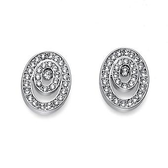 Oliver Weber Post Earring Within Rhodium Crystal