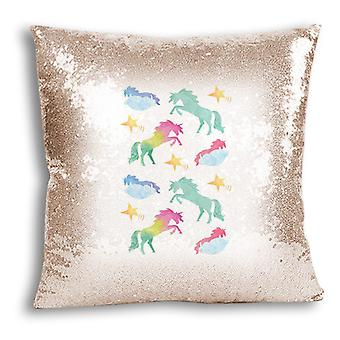 i-Tronixs - Unicorn Printed Design Champagne Sequin Cushion / Pillow Cover with Inserted Pillow for Home Decor - 7