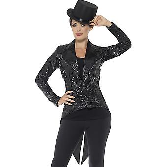 Чернота куртки, дамы, фрак блесток