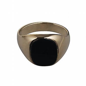 9 قيراط الذهب 14x12mm رجالي الجزع تعيين X حجم خاتم الخاتم البيضاوي
