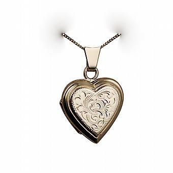 9 قيراط الذهب محفورة اليد 17x17mm القلب شقة المنجد مع كبح سلسلة 20 بوصة
