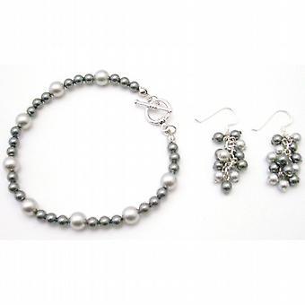 Matrimonio gioielli grigio grigio scuro Lite w / grappolo orecchini pendenti