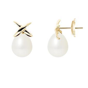 Ohrringe-Ohren-Perlen der Kultur weiß und gelb gold 750/1000