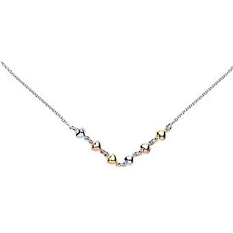 Bella Three Heart Necklace - Silver/Rose Gold/Gold