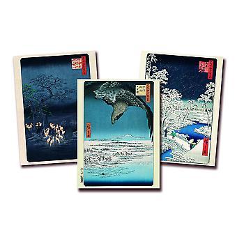 Hiroshige Kunstdruck 3er-Set Papier 250 gr. matt Foxes Meeting, Drum Bridge At Meguro und Fukagawa Susaki and Jumantsubo Kleinformat 40 x 30 cm