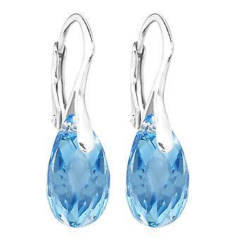 Frauen Aquamarin 16mm Kristalle aus SwarovskiHand gearbeitete Ohrringe