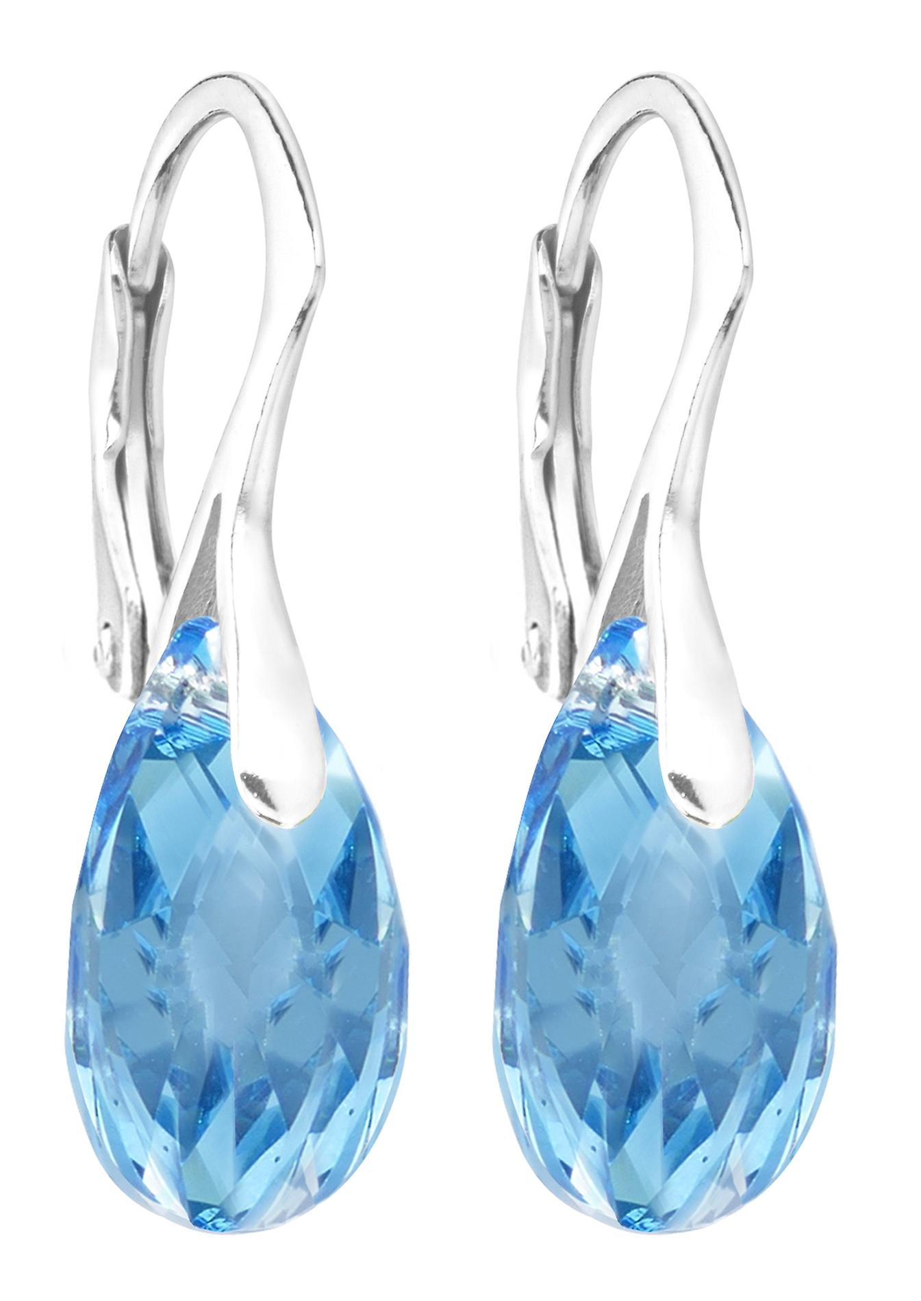 Women's Aquamarine 16mm Crystals From SwarovskiHand Crafted Earrings