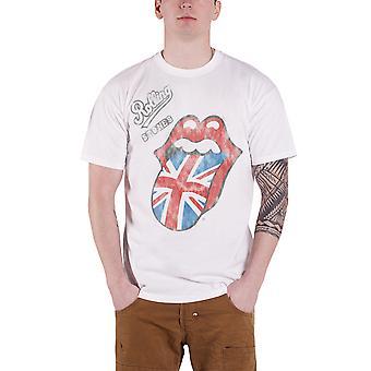 De rullande stenar T skjorta Vintage brittiska tunga logotyp officiella Mens nya vita