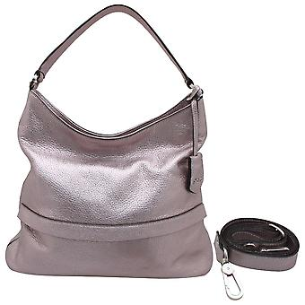 Abro Metallic Leather Hobo Slouch Handbag