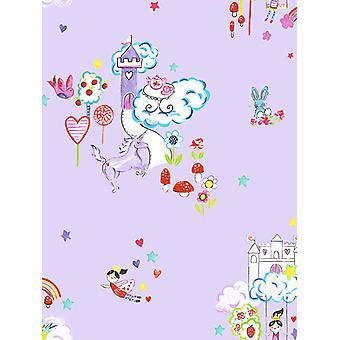 Unicórnios e castelos wallpaper lilás Holden 12219