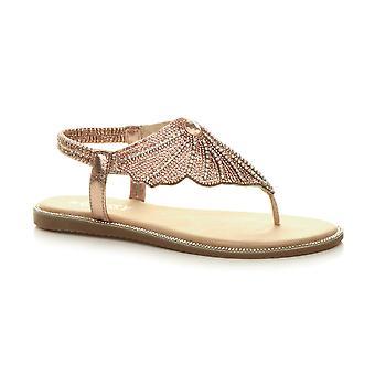 Ajvani Womens Low Heel diamante toe post t-bar elastische Slingback Sandalen