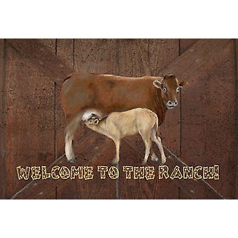 Welcome to the Ranch with the Cow and Baby Fabric Placemat