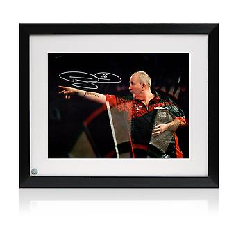 Phil Taylor Signed Darts Photo: At The Oche. Framed