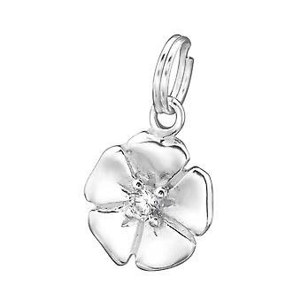 Flower - 925 Sterling Silver Charms with Split ring - W29956X