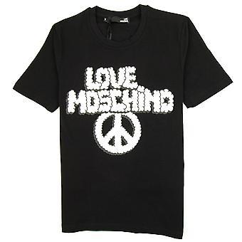 Kjærlighet Moschino kjærlighet skyer T skjorte svart/hvit