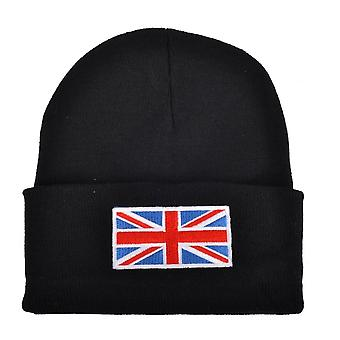 Union Jack Wear Black Union Jack Flag Beanie Hat