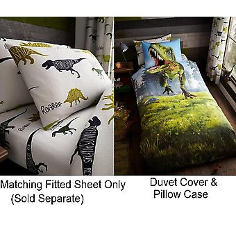 Dino Girls Boys Kids Single Dinosaur Duvet Quilt Cover Children Bedding Set