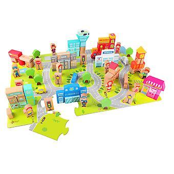 Classic World - Wooden City Building Blocks Set, Shape Sorter Toy Construction Puzzle Toy for Children