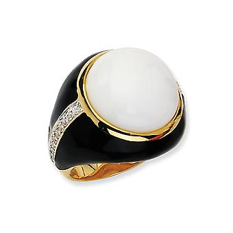 14k Gold Plated 925 Sterling Silver Enamel Blk Enam Simulated Wht Agate and Cubic Zirconia Ring Jewelry Gifts for Women
