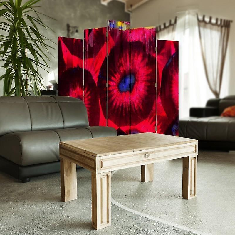Diviseur de pièce décorative, 5 panneaux, double-sided, toile rotative de 360 , fleurs stylisées