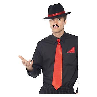 Sombrero de gángster de mens, corbata y pañuelo accesorio del vestido de lujo